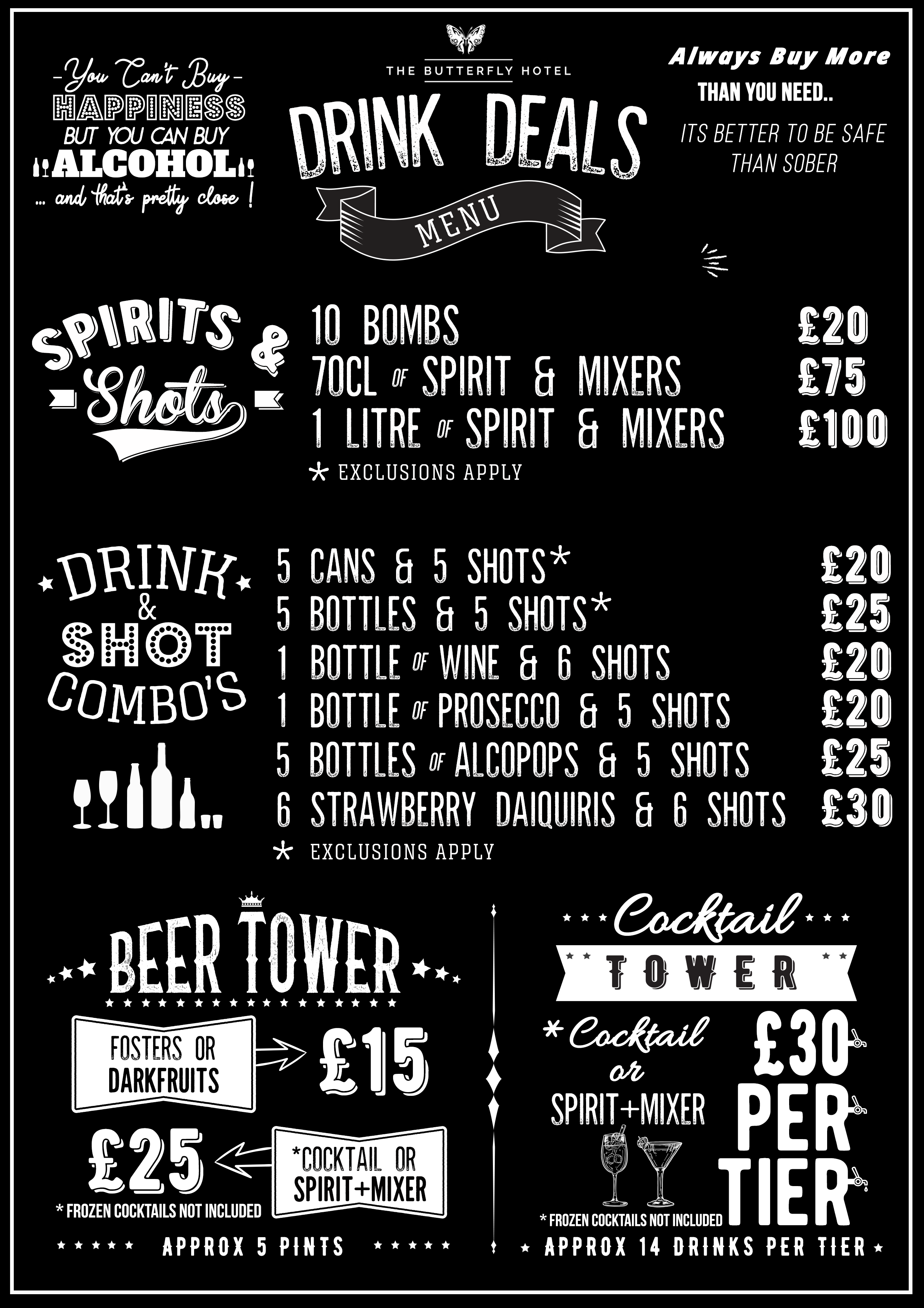 The Butterfly Hotel Drink Deals Menu